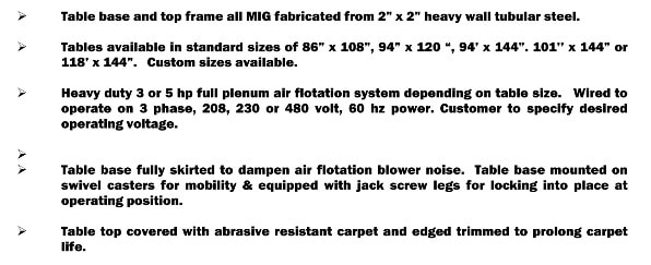 Air flotation table specs-1